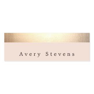 El oro rayó (ningún brillo) rosa claro elegante tarjetas de visita mini