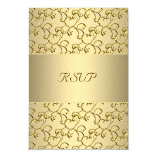 El oro remolina aniversario de boda del oro 50.o invitación 8,9 x 12,7 cm