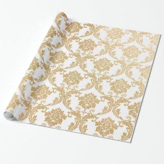 El oro remolina damasco papel de regalo