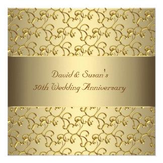 El oro remolina fiesta de aniversario del boda del invitacion personalizada