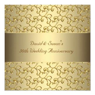 El oro remolina fiesta de aniversario del boda del invitación 13,3 cm x 13,3cm