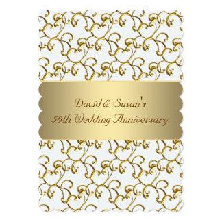 El oro remolina fiesta de aniversario del boda del invitación 12,7 x 17,8 cm