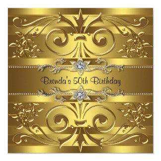 El oro remolina fiesta de cumpleaños del oro invitación 13,3 cm x 13,3cm