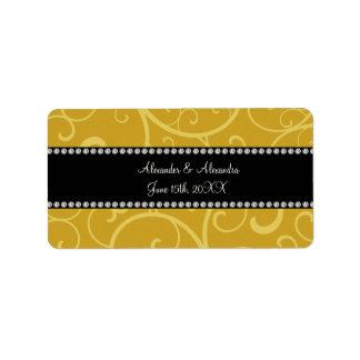 el oro remolina los favores del boda etiquetas de dirección