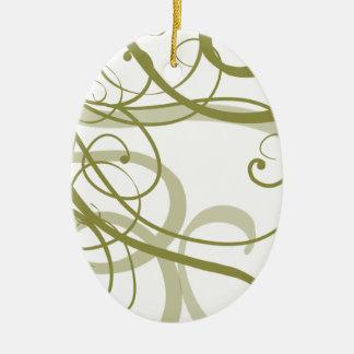 El oro remolina modelo adorno navideño ovalado de cerámica