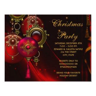 """El oro rojo adorna a la fiesta de Navidad Invitación 4.25"""" X 5.5"""""""