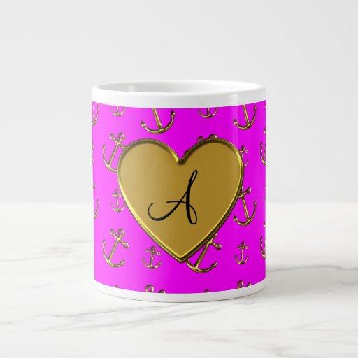 El oro rosado de neón del monograma ancla el coraz taza grande