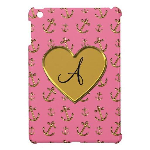 El oro rosado del monograma ancla el corazón iPad mini protectores