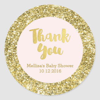 El oro se ruboriza fiesta de bienvenida al bebé le pegatina redonda
