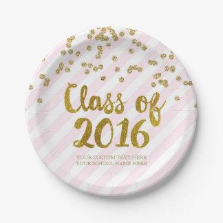 El oro se ruboriza la graduación rosada 2016 del platos de papel