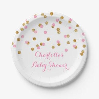 El oro se ruboriza placa rosada de la fiesta de platos de papel