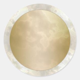 El oro subió la ronda de mármol 2 pegatina redonda
