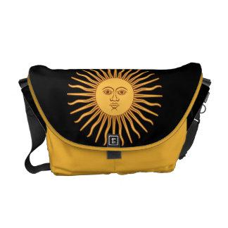El oro Sun hace frente e irradia al símbolo de Cel Bolsas De Mensajeria