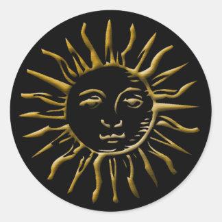 El oro Sun y abigarró el fondo negro #2 - pegatina