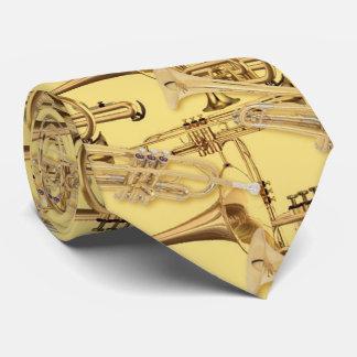 El oro toca la trompeta doble corbatas personalizadas