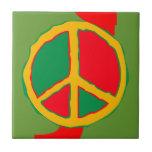 El oro verde rojo del cuadrado retro de la paz azulejos cerámicos