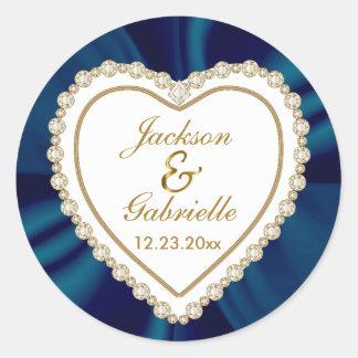 El oro y el boda azul para Sr. y la señora el | Pegatina Redonda