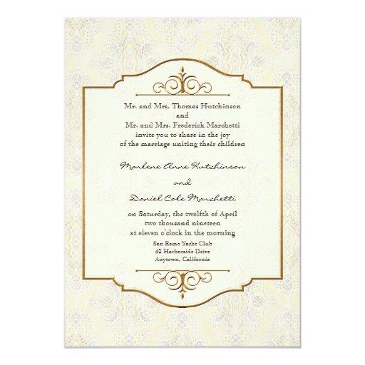 """El oro y el boda elegante formal clásico del invitación 5"""" x 7"""""""