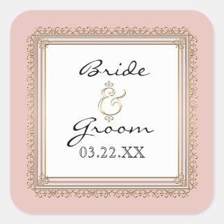 El oro y el boda elegante formal clásico del pegatinas cuadradases