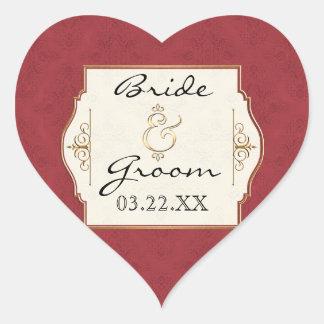 El oro y el boda elegante formal clásico del pegatina de corazon personalizadas