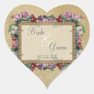 El oro y el boda elegante formal clásico del pegatina en forma de corazón