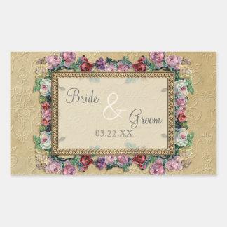 El oro y el boda elegante formal clásico del pegatina rectangular