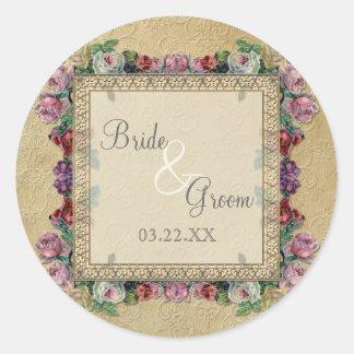 El oro y el boda elegante formal clásico del pegatina redonda