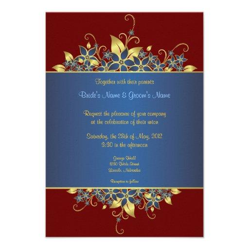El oro y el boda elegante profundamente azul invit