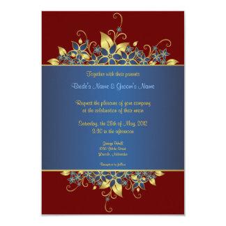 El oro y el boda elegante profundamente azul comunicados personales