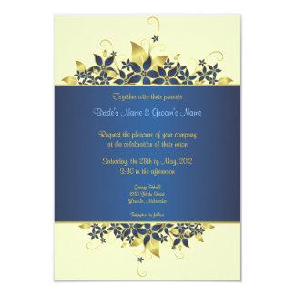 El oro y el boda elegante profundamente azul
