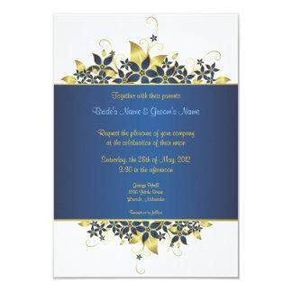 El oro y el boda elegante profundamente azul comunicado