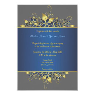 El oro y el boda elegante profundamente azul invitación personalizada