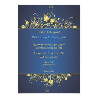 El oro y el boda elegante profundamente azul anuncios