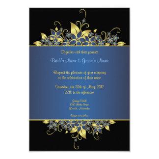 El oro y el boda elegante profundamente azul invitacion personal