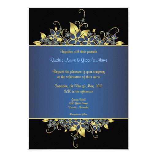 """El oro y el boda elegante profundamente azul invitación 3.5"""" x 5"""""""