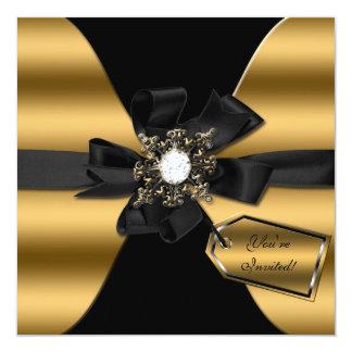 El oro y el diamante negro arqueados invitan invitación 13,3 cm x 13,3cm