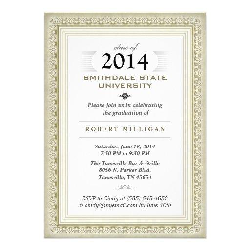 El oro y el graduado de lujo blanco del diploma in invitacion personalizada
