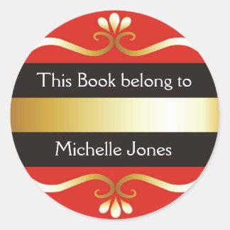 El oro y el rojo este libro pertenece a los pegatina redonda