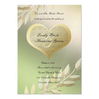 El oro y el verde doraron la invitación del boda