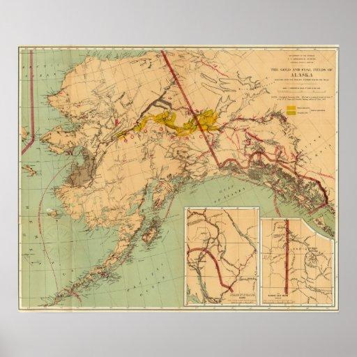 El oro y las cuencas carboníferas de Alaska Póster
