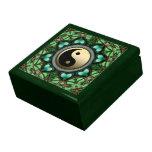 El oro Yin Yang de los corazones de Forest Green l Caja De Recuerdo