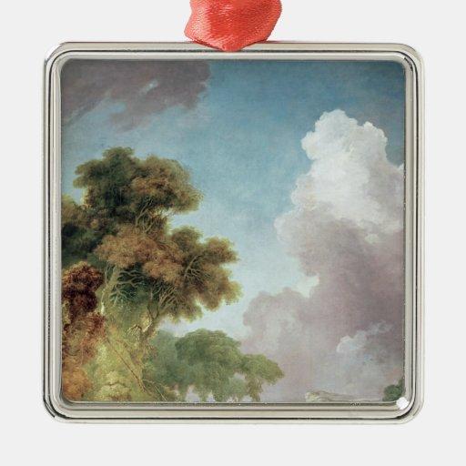 El oscilación, c.1765 adorno navideño cuadrado de metal