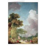 El oscilación, c.1765 tarjeta de felicitación