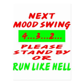El oscilación de humor siguiente hace una pausa o tarjetas postales