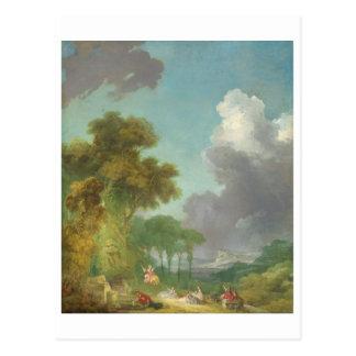 El oscilación de Jean-Honore Fragonard Postales