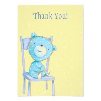 """El oso azul del calicó le agradece invitación 5"""" x 7"""""""