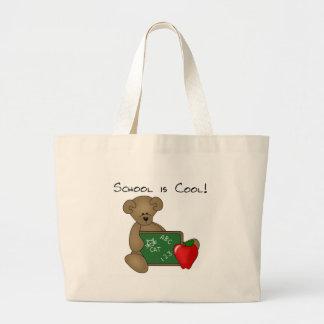 El oso con la escuela del tablero de escritura es  bolsa tela grande