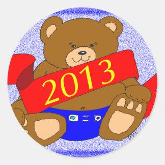 El oso de la Feliz Año Nuevo - 2013 Pegatina Redonda