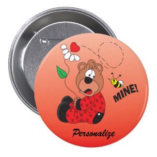 El oso de la tarjeta del día de San Valentín de la Pin Redondo De 3 Pulgadas