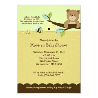 El oso de miel y manosea la invitación de la invitación 12,7 x 17,8 cm